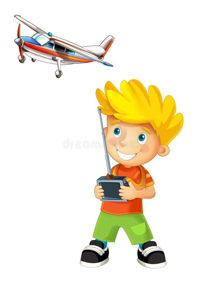 Beeldverhaal het gelukkige jongen spelen met radiocontrolemechanisme voor model van een vliegtuig vector illustratie