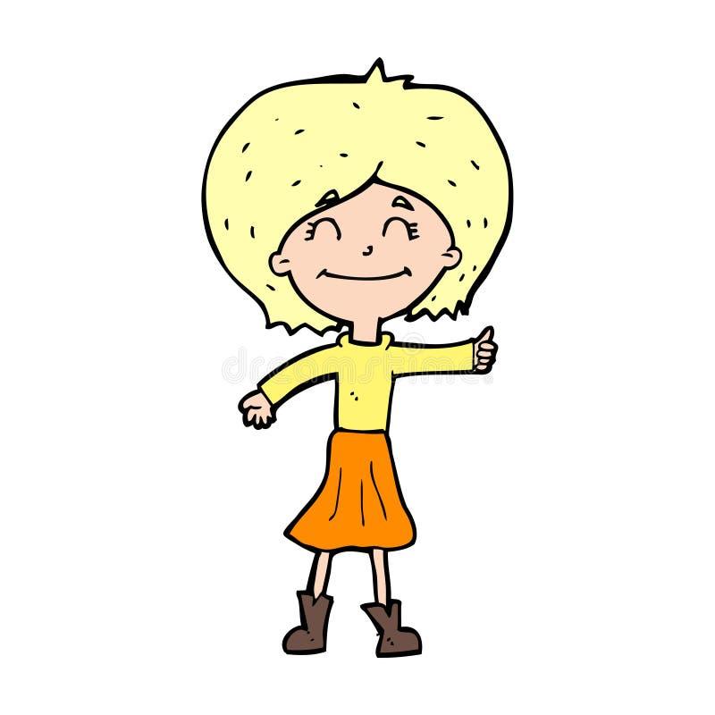 beeldverhaal het gelukkige meisje beduimelt geven omhoog symbool stock illustratie