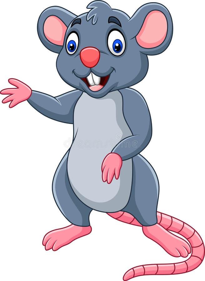 Beeldverhaal het gelukkige muis golven vector illustratie