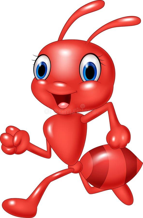 Beeldverhaal het gelukkige rode mier lopen geïsoleerd op witte achtergrond stock illustratie