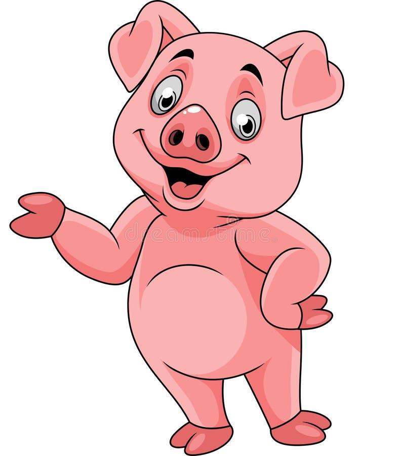 Beeldverhaal het gelukkige varken voorstellen vector illustratie