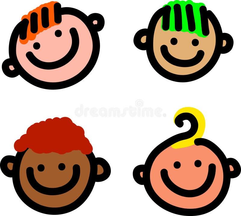 Beeldverhaal het Glimlachen Gezichten stock illustratie