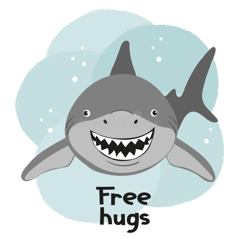 Beeldverhaal het glimlachen haai vectorillustratie voor jonge geitjes royalty-vrije illustratie