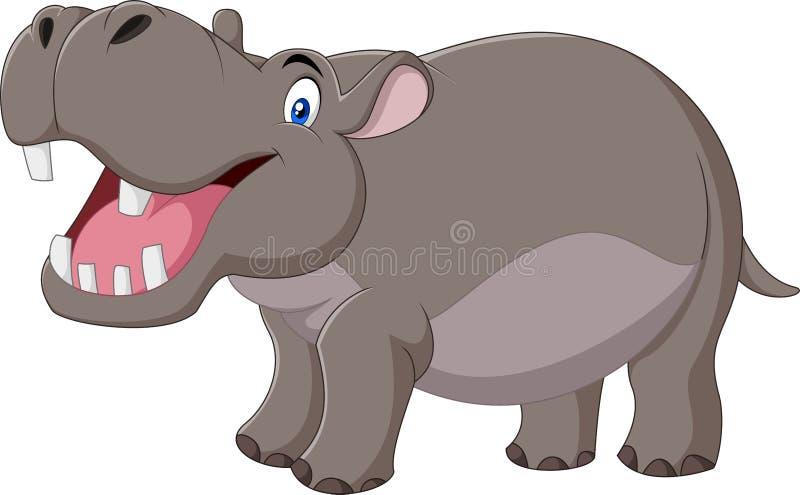 Beeldverhaal het glimlachen hippo op witte achtergrond wordt geïsoleerd die stock illustratie