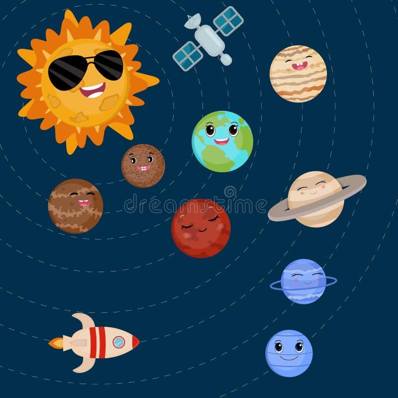Beeldverhaal het glimlachen planeten en zon stock illustratie