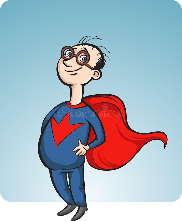 Beeldverhaal het glimlachen superhero royalty-vrije illustratie
