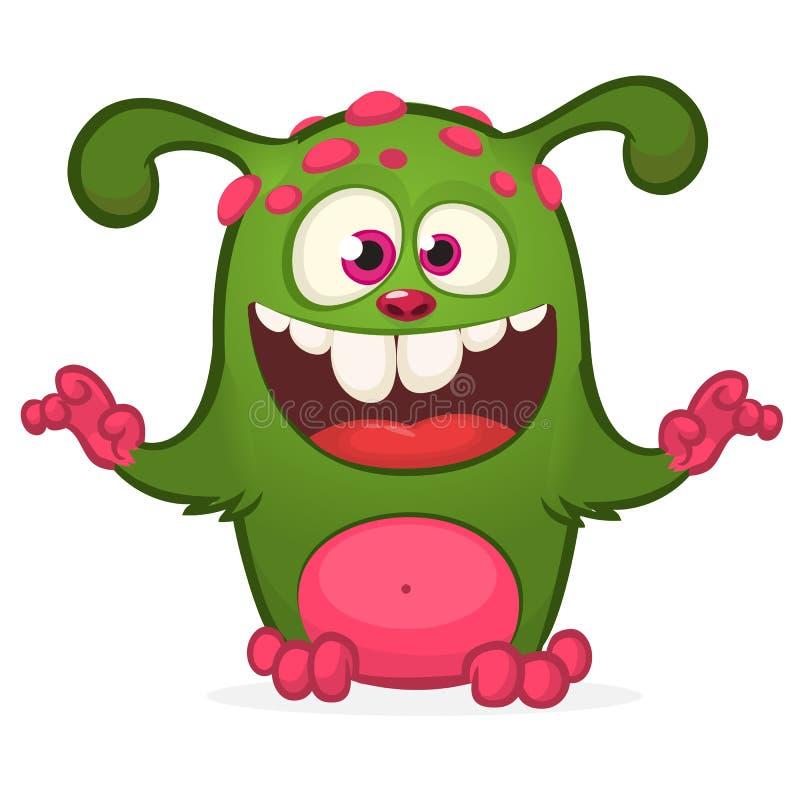 Beeldverhaal het lachen groen monster Vector geïsoleerde illustratie van groen monster Halloween-ontwerp vector illustratie