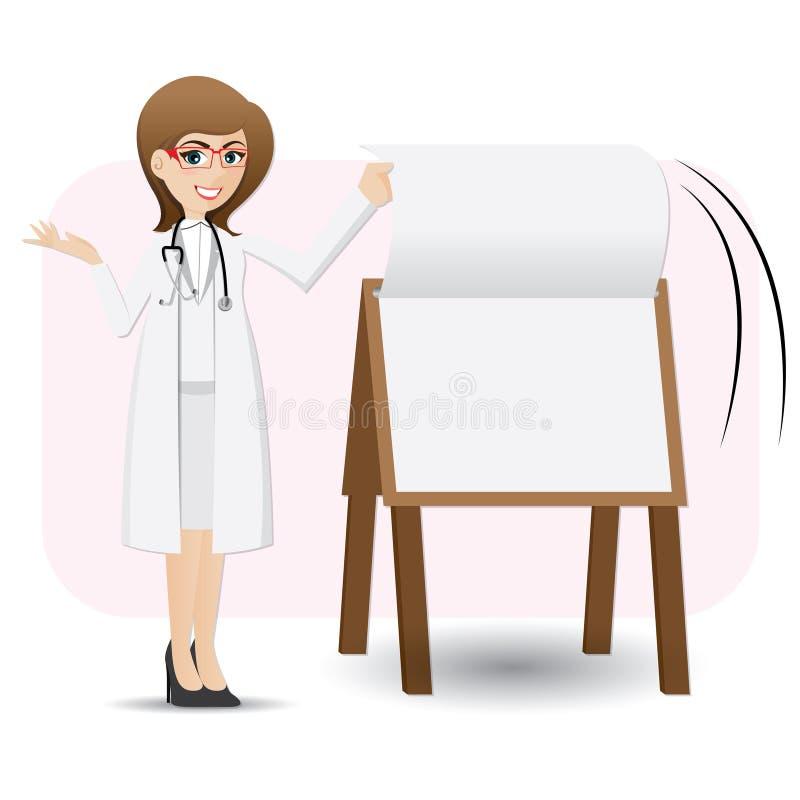 Beeldverhaal het leuke document van de artsentik op presentatieraad stock illustratie