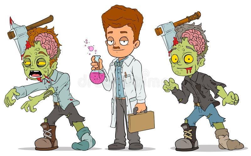 Beeldverhaal het lopen de set van tekens van de zombiewetenschapper vector illustratie