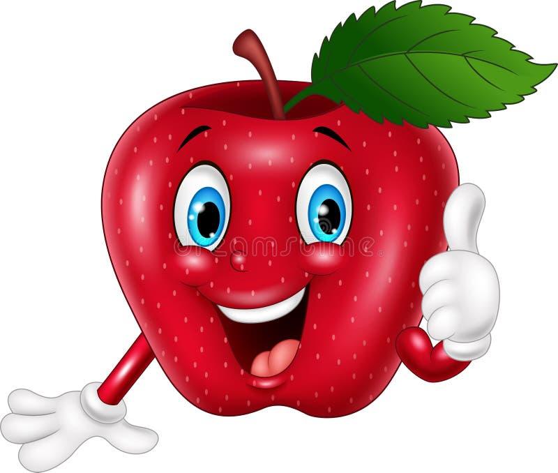 Beeldverhaal het rode appel omhoog beduimelt geven vector illustratie