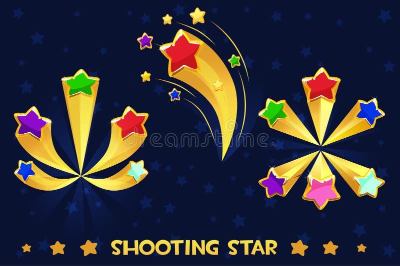 Beeldverhaal het verschillende kleurde schieten sterren stock illustratie