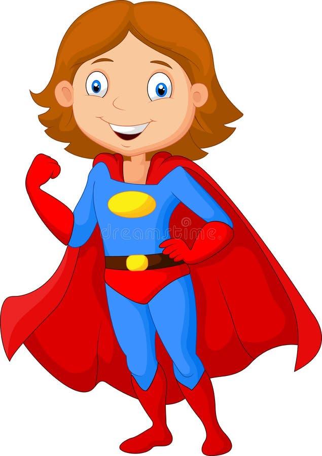 Beeldverhaal het vrouwelijke super held stellen stock illustratie