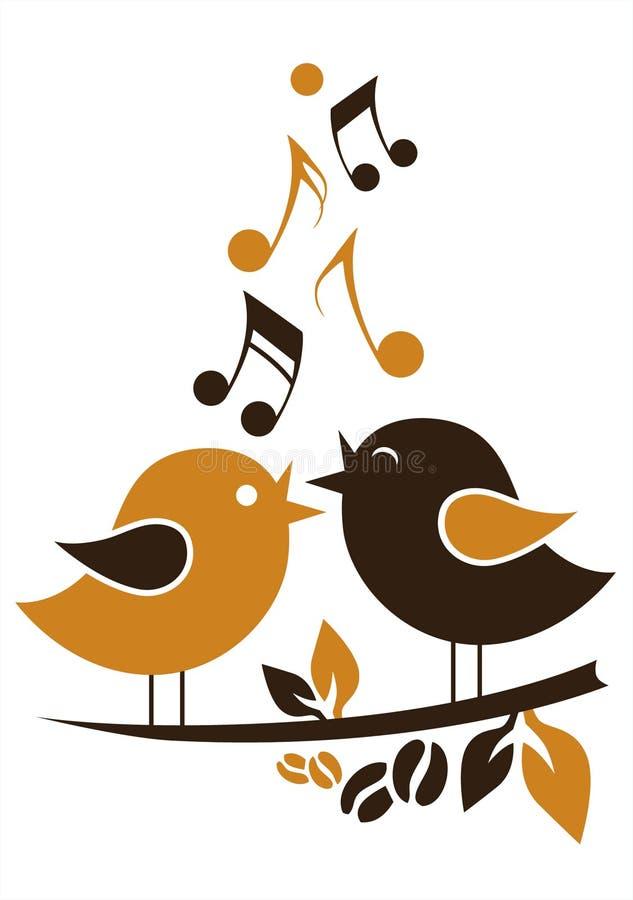Beeldverhaal het zingen vogels stock illustratie