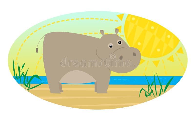 Beeldverhaal Hippo royalty-vrije illustratie