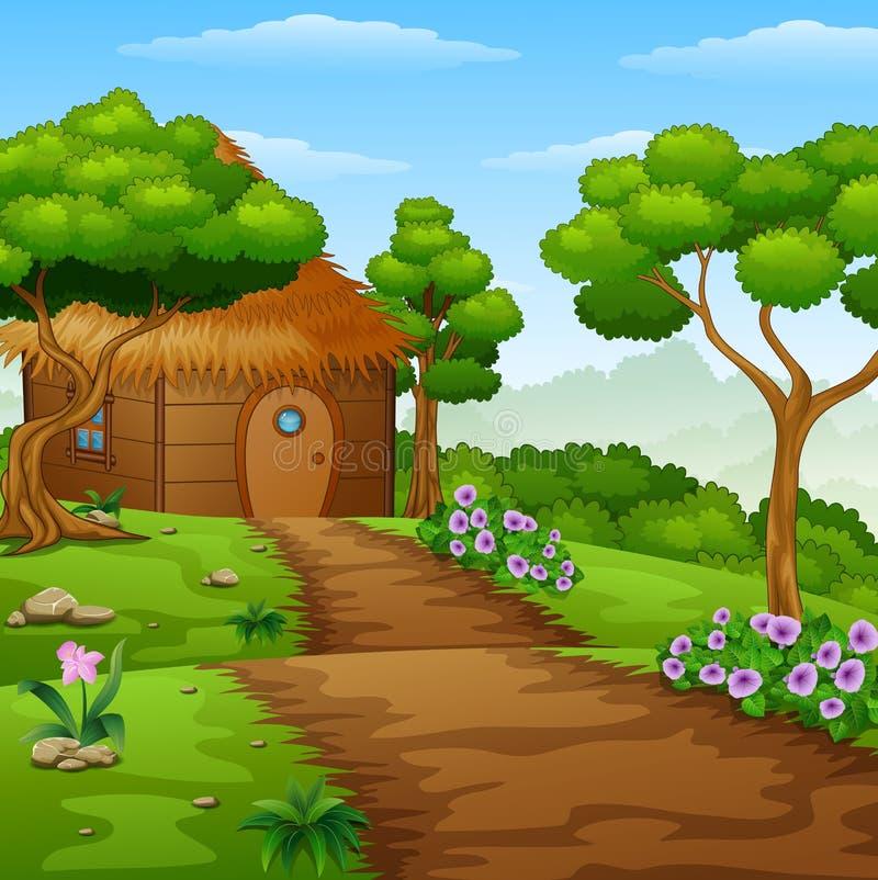Beeldverhaal houten cabine in het bos royalty-vrije illustratie