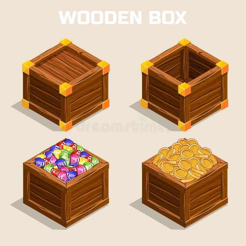 Beeldverhaal houten isometrische dozen voor spel stock illustratie
