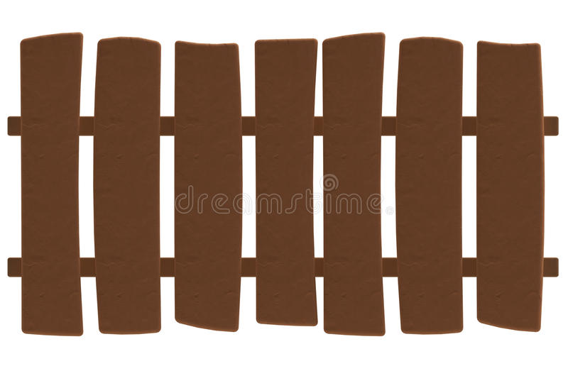 Beeldverhaal houten omheining in plasticine of kleistijl vector illustratie