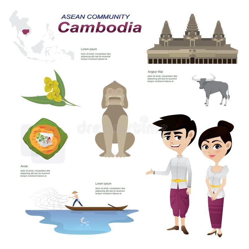 Beeldverhaal infographic van de gemeenschap van ASEAN van Kambodja vector illustratie
