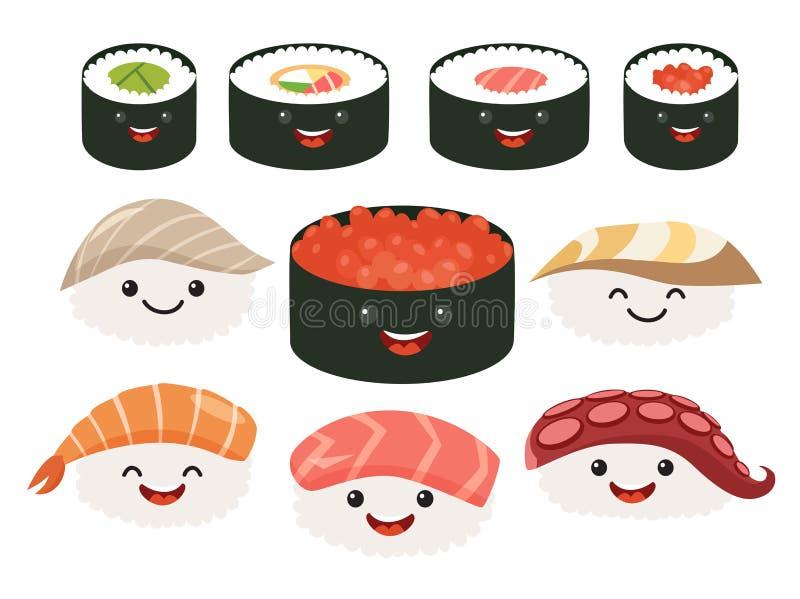 Beeldverhaal Japans voedsel De vector vastgestelde karakters van het sushibeeldverhaal Het broodje en de sashimireeks van glimlac royalty-vrije illustratie