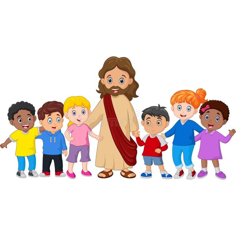 Beeldverhaal Jesus Christ die door kinderen worden omringd vector illustratie