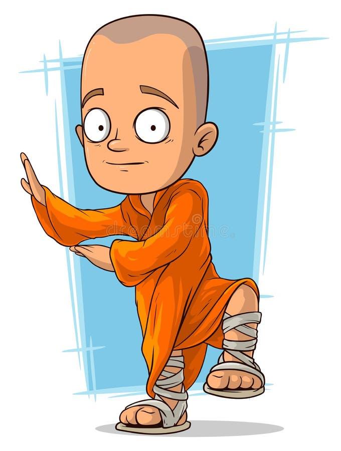 Beeldverhaal jonge boeddhistische monnik royalty-vrije illustratie