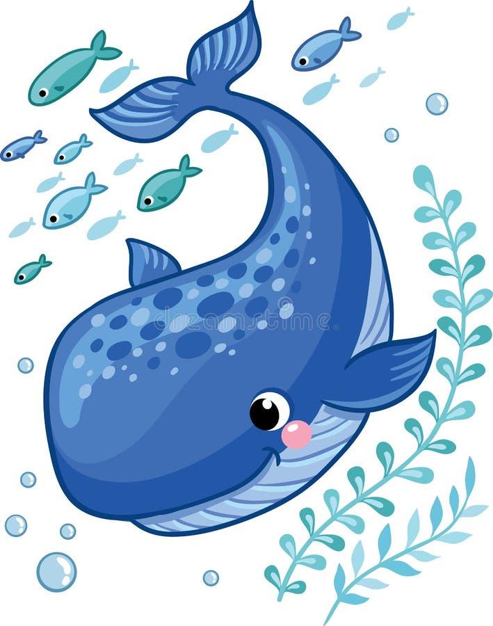 Beeldverhaal jonge die walvis door kleine overzeese vissen wordt omringd