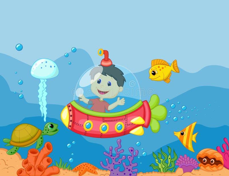 Beeldverhaal jonge geitjes in de onderzeeër vector illustratie