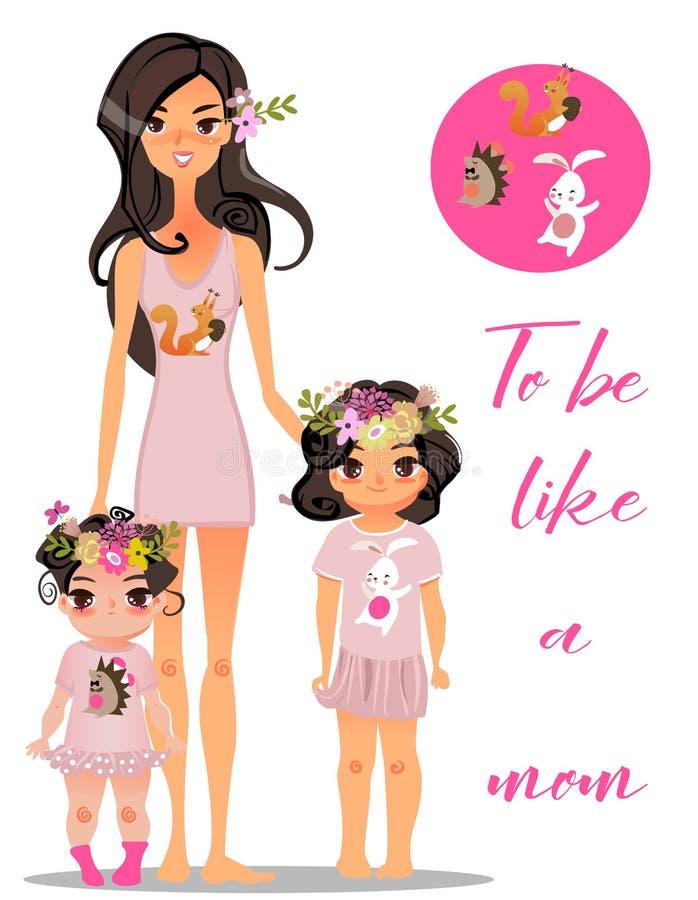Beeldverhaal jonge moeder met dochters royalty-vrije illustratie