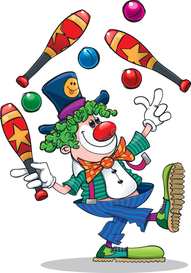 Beeldverhaal jonglerende met clown royalty-vrije stock afbeeldingen