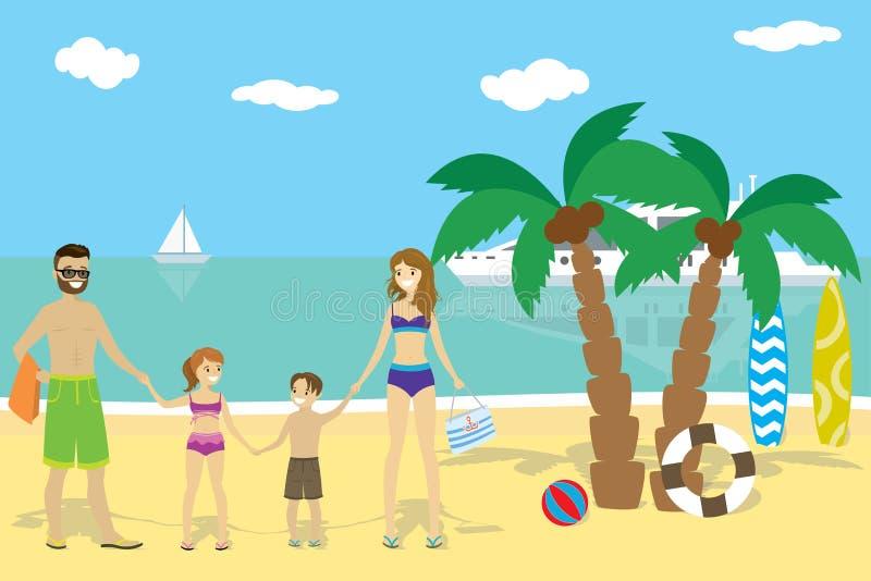 Beeldverhaal Kaukasische familie op het strand, het concept van de de zomervakantie stock illustratie
