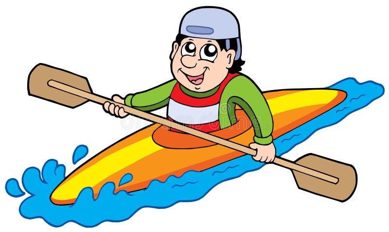 Beeldverhaal kayaker royalty-vrije illustratie