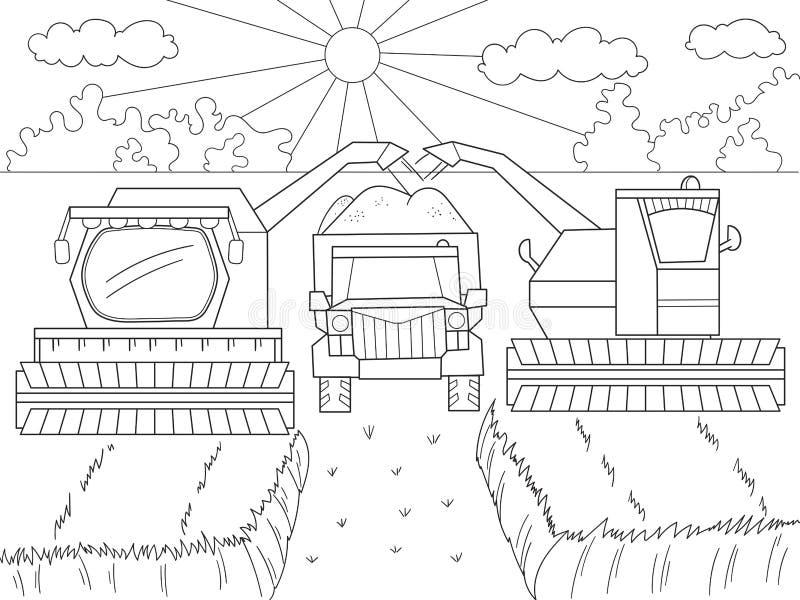 Beeldverhaal, kleurend boek voor kinderen De herfst het oogsten van tarwe Het planten van de lente Maaidorser en kamaz vector illustratie