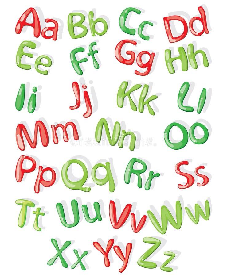 Beeldverhaal kleurrijk alfabet, geïllustreerde vector vector illustratie