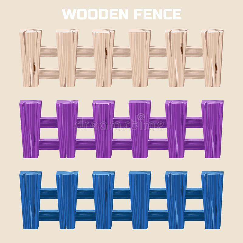 Beeldverhaal kleurrijke houten omheining stock illustratie
