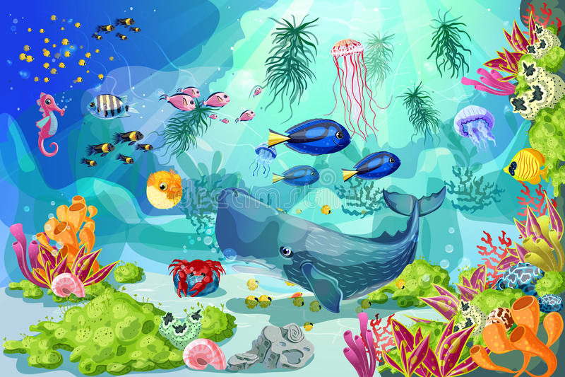 Beeldverhaal Kleurrijke Marine Underwater Life Background stock illustratie