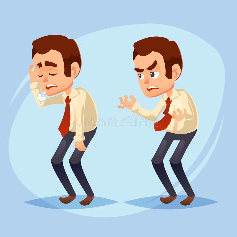 Beeldverhaal kleurrijke vectorillustratie van een knappe jonge zakenman ongelukkige, ontevreden, snuffy, zieke, beklemtoonde Bedr vector illustratie