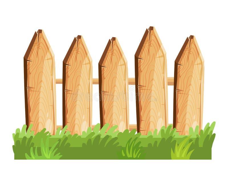 Beeldverhaal landelijke houten omheining in groene gras vectorillustratie stock illustratie