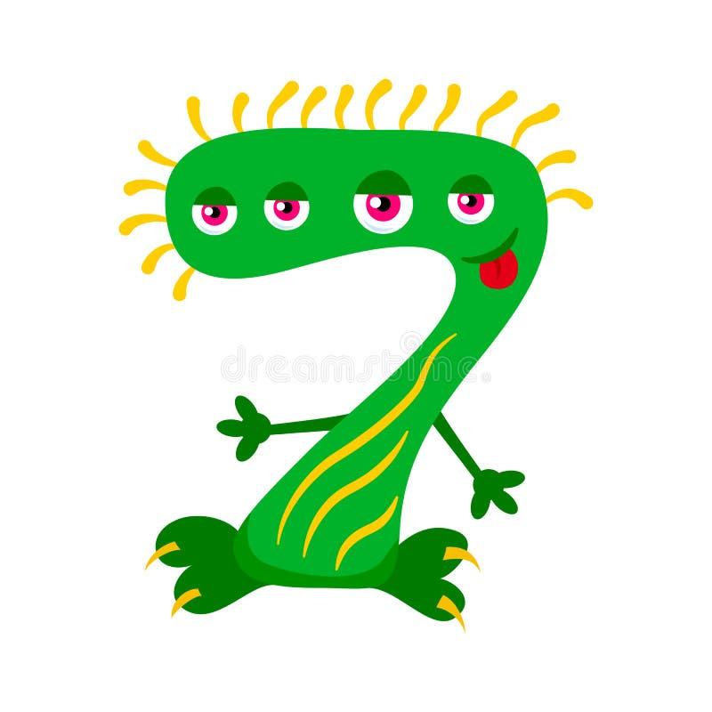 Beeldverhaal leuk groen monster nummer Zeven royalty-vrije illustratie