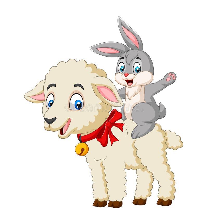 Beeldverhaal leuk konijntje die een lam berijden stock illustratie