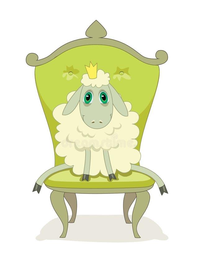 Beeldverhaal leuk lam op een stoel royalty-vrije illustratie