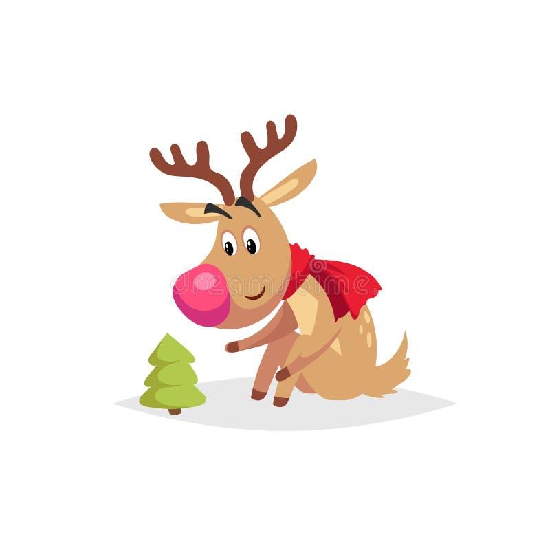 Beeldverhaal leuk rendier met grote rode neus en sjaalzitting en het kijken op weinig Kerstmisboom De vectorillustratie van Kerst royalty-vrije illustratie