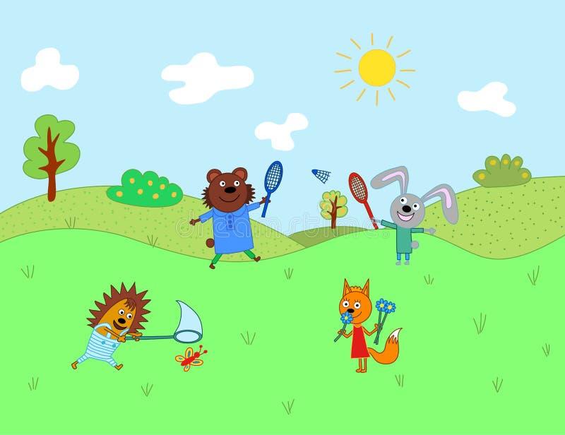 Beeldverhaal leuke dieren voor babykaart en uitnodiging Draag, hazen, cantharel, egel, vos royalty-vrije illustratie