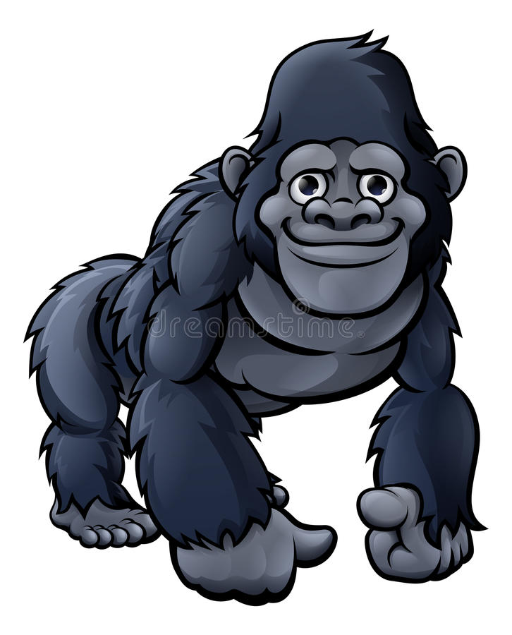 Beeldverhaal Leuke Gorilla stock illustratie