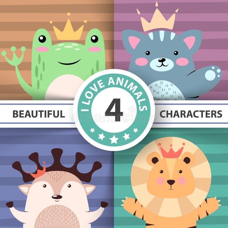 Beeldverhaal leuke hello dieren - kikker, kat, herten, leeuw stock illustratie