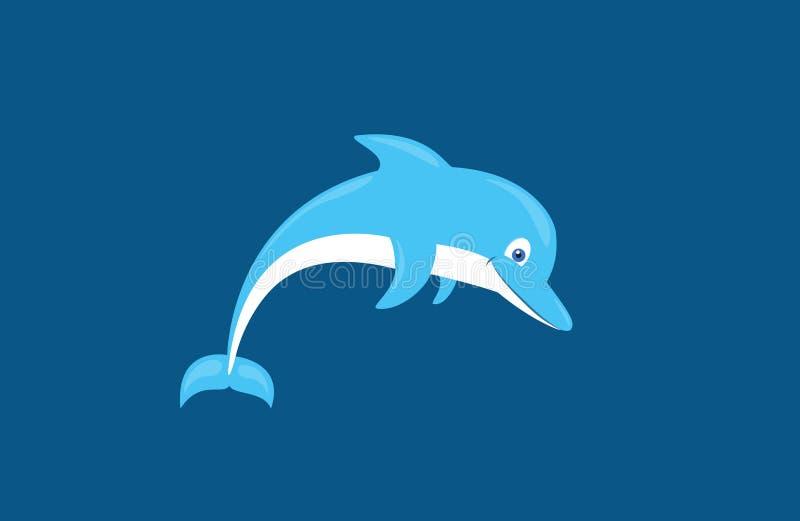 Beeldverhaal leuke het glimlachen dolfijn geïsoleerde vectorillustratie royalty-vrije illustratie