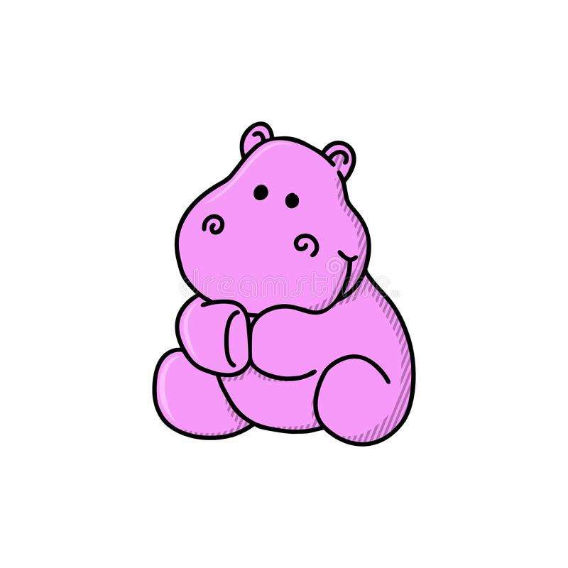 Beeldverhaal leuke hippo Vectorillustratie van grappig gelukkig Nijlpaard vector illustratie
