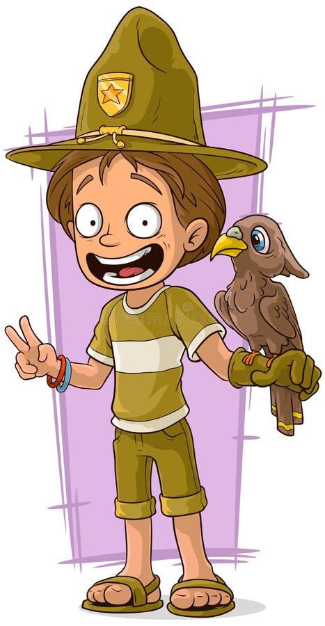 Beeldverhaal leuke houtvester met vogel vector illustratie