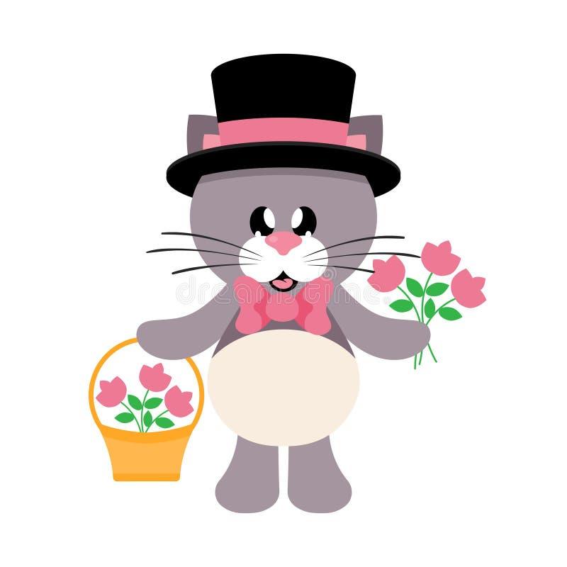 Beeldverhaal leuke kat met band en hoed en fowers en mand stock illustratie