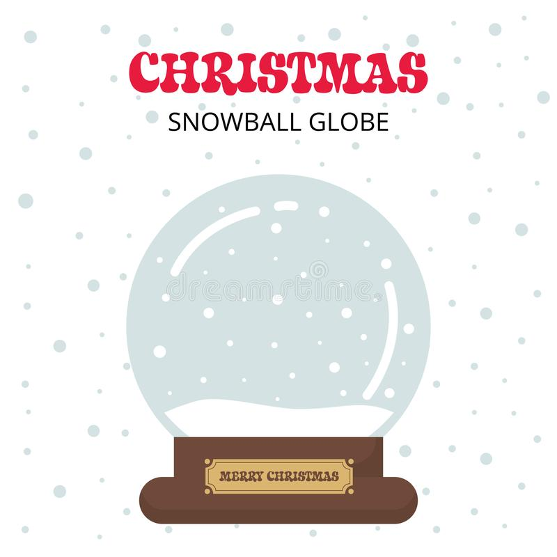 Beeldverhaal leuke Kerstmis snowglobe met tekst op een witte achtergrond stock illustratie