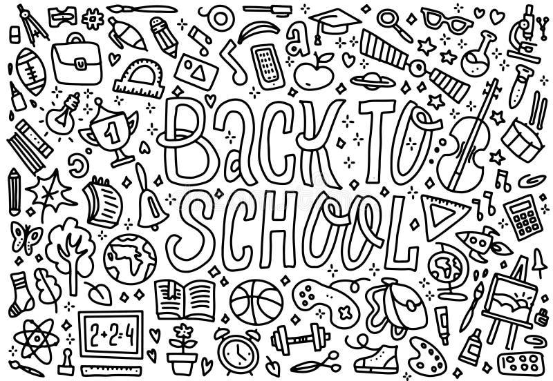 Beeldverhaal leuke krabbels terug naar Schoolwoord Kleurrijke horizontale illustratie Achtergrond met veel afzonderlijke voorwerp royalty-vrije illustratie